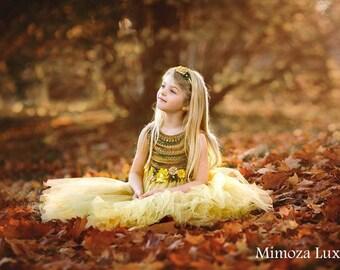 Autumn Flower girl dress, autumn wedding, orange, green, gold princess dress, gold crochet top tulle dress, hand knit tutu dress