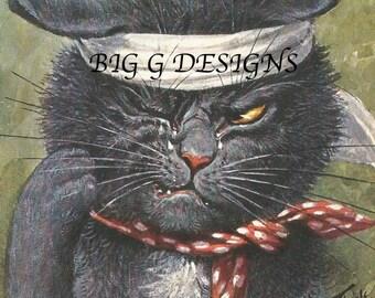 Antique German postcard Arthur Thiele humorous black cat fight postcard digital download printable instant image clip art