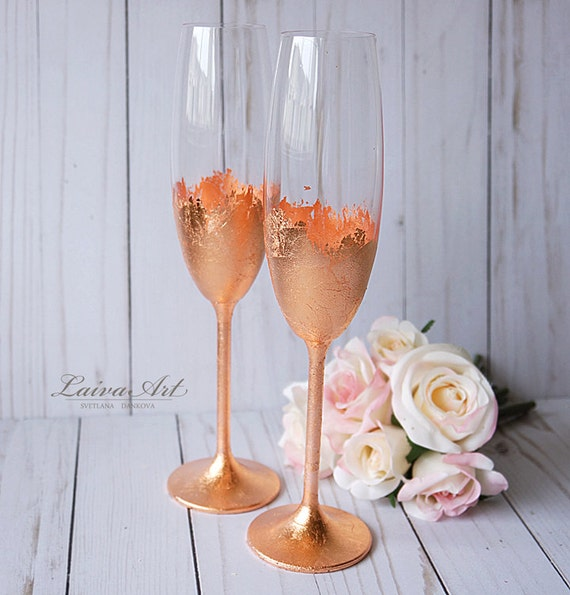Wedding Champagne Flutes Champagne Glasses Rose Gold By