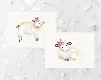 Nursery Lamb Printable Watercolor Lamb Print Lamb Wall Art Pink Floral Nursery Decor Pink Flowers Sheep Nursery Print Girl Nursery Wall Art