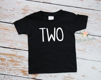 Toddler Boy's Second Birthday Black Tshirt | 2nd Birthday Boy | Two Birthday Shirt | Toddler Boy Second Birthday | 296