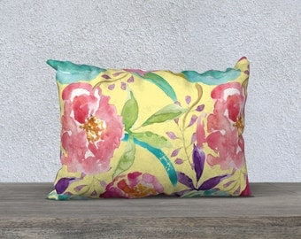Floral Pillow Cover - Modern Flowers Cushion Cover - Modern Decor - Yellow Peach Pink Blue Pillow Cover -18x18 or 20x14 - Decorative Pillow