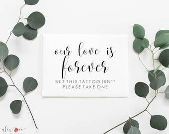 Temp Tattoo Printable. Wedding Temporary Tattoo Printable. Temp Tattoos Sign. Tattoo Favor Sign. Wedding Printables. Wedding Signs.
