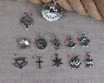 Name necklace, Charm necklace, Fox, Flower, Beach, Snowflake, Cross, Lotus