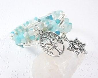 Jewish Bracelet, Bat Mitzvah Gift, Jewish Jewelry, Adjustable Memory Wire Bracelet, Star of David Wrap Bracelet, Tree of Life Charm Bracelet