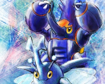 Heracross and Mega Heracross - Pokemon Art Print