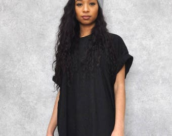 Black Oversized Boyfriend T-Shirt Dress