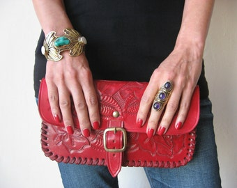 Hand Painted Crimson Red Tooled Leather Clutch ~ Vintage Style Southwestern Hand Painted Leather Bag