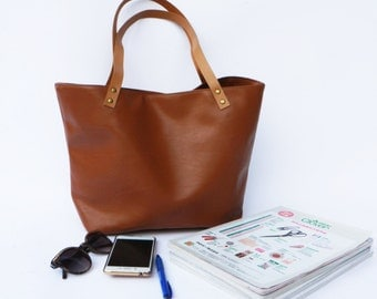 SALE 15% Vegan Leather  Handbag Tote almond, tote bag, vegan leather bag, canvas bag, leather strap, Market Bag, Teacher Bag,Christmas Gift