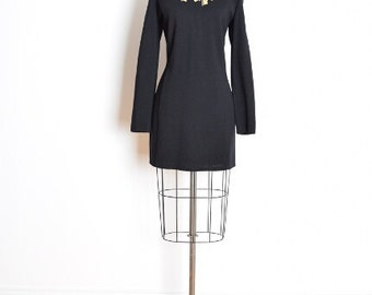 vintage 80s dress, embroidered keys, embroidered dress, black wool dress, 80s mini dress, keys necklace, 1980s 80s clothing, L large
