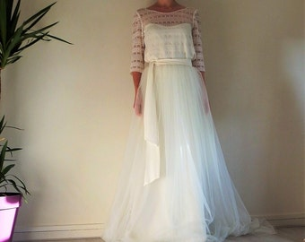 Romantic wedding dress,  top and tulle skirt