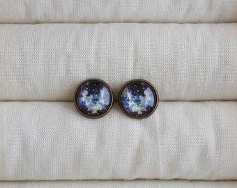 Space earrings, Dark blue universe earrings, Galaxy stud earrings, Space jewelry, Starry universe post earrings, Glass dome earrings UJ 088