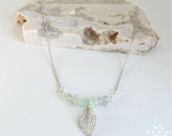 Modern Raw Stone Necklace, Fluorite Crystal Necklace with a Silver Charm