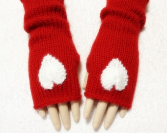 Wool Fingerless Gloves More Color To Choose Hearts