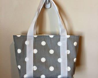 Scripture Bag - Gray and White Polka Dot