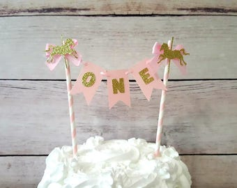Pink and Gold Carousel Birthday, Carousel Cake Topper, Carousel Cake Bunting, Carousel First Birthday, Pink Gold First Birthday, Smash Cake