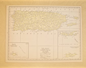 1926 - Puerto Rico Map - Large Antique Map - Beautiful Old Map of Puerto Rico - Large Vintage Map - Colorful Atlas Map - Gift - Home Decor