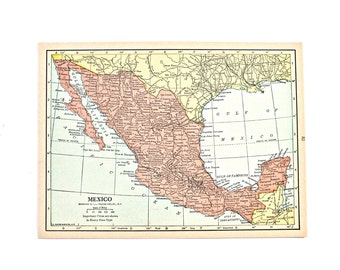 1936 mexico map beautiful old map of mexico small vintage map colorful