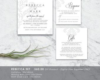 Classic Flourish Damask Printable Wedding Invitation Set - DIY Printable Digital File 'Rebecca'