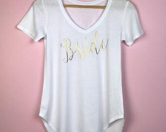 Bride V Neck T-shirt. Bride Shirt. Bride Gift. Bridal Shower Gift.