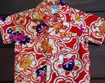 Vintage Toddler Hawaiian Shirt Barkcloth