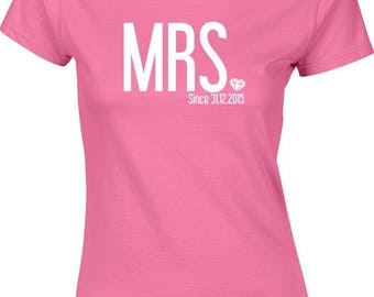 Mr and Mrs, wifey, hubby, husband gift, Just Married Personalized T-Shirts, date T-Shirt, Bride and Groom, Wedding Gift,Married since tee