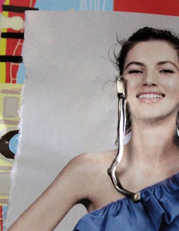 Long Single Earring, Dangle Silver Earring , Mono Earring, Woman,s Drop Earring, Long Post Earring, Long Stud Earring