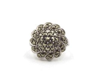 Marcasite Ring | Vintage Silver Dress Ring | UK size O ~ US size 7 1/4