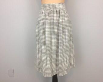 Winter Wool Skirt Plaid Winter Skirt Midi Womens Skirts Fall Clothing Cream Gray Plaid Size 12 Skirt Large Vintage Clothing Womens Clothing