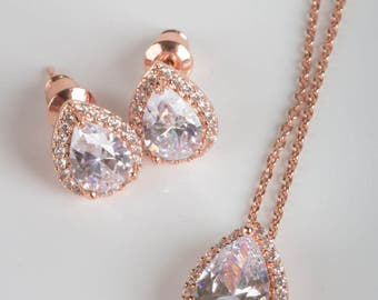 Rose Gold Bridesmaid Sets | Bridesmaid Jewelry | Bridal Sets | Bridesmaid Gifts | Personalized Gifts | Wedding Jewelry | Rose Gold Sets