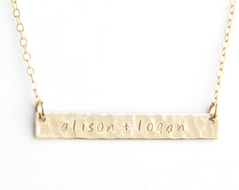 """Long Bar Necklace, Hammered, 1.50"""", Personalized, Gold Filled, Sterling Silver, Rose Gold Filled"""