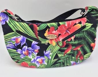 Hobo Bag, Handbag, Sling Bag, Slouchy Bag, Tropical Bag, Large Purse in Tropical Gardens Print - Made in Maui