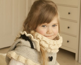 KNITTING PATTERN hoodie with ruffles and inner cowl Marta (baby, toddler, child, adult sizes)