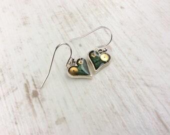 Small Green Earrings. Little Heart Earrings. Dark Green Earrings. Small Drop Earrings. Watch Part Earrings. Small Heart Earrings. Steampunk