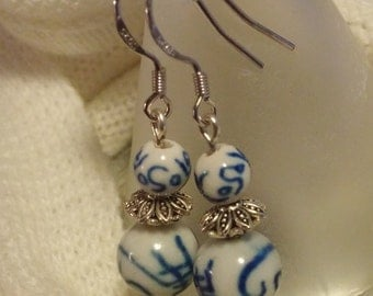 Blue and White Ceramic Dangle Earrings