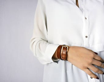 Brown Leather Wrap Bracelet, Buckle Bracelet, Handmade Leather Bracelet for Women