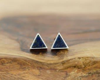 925 Sterling Silver Dark Blue Navy Lapis Triangle Stone Studs Earrings