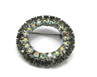 Silver Tone Aurora Borealis AB Rhinestone Brooch Bridal Bouquet Pin Flower Designer Vintage Jewelry Costume Shawl Scarf Pin Gift Ideas