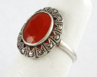 1920s- ART DECO Carnelian Stone & Marcasites Sterling Silver Ring - Size: 6