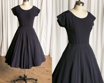 Patterson dress | vintage 50s dress | Jonathan Logan | navy blue 1950s dress | blue faille 50s dress | fit & flare | navy 1950s dress