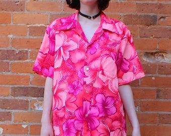 Pomare Hawaii Vintage 1960s Barkcloth Hawaiian Shirt