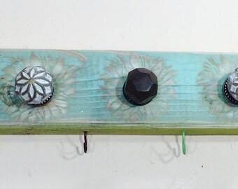 Rustic wooden wall coat rack /entryway organizer hanging boho decor mudroom storage reclaimed wood art 6 colorful hooks  5 knobs