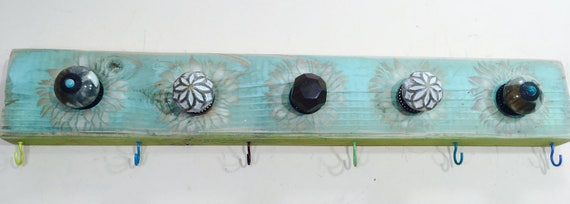Rustic wooden wall coat rack /entryway organizer hanging boho decor mudroom storage reclaimed wood art 6 colorful hooks  5 knobs