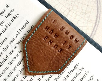 Magnetic Bookmark | Tan Leather Bookmark with Sky Blue Suede Lining | Personalise Bookmark | 3rd Anniversary Gift | Page Marker