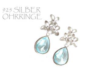 Blue Earrings. Orchid Earrings. Blue Dangles. Aqua Chandeliers. Orchid Dangles. Orchids Chandeliers Bridal, Bridesmaids Gifts.