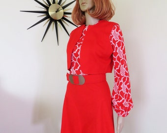 "60s vintage Italian ""Palazzio""red and white dress with matching bolero and belt with chunky silver buckle - ultra funky ensemble!  Stunning"