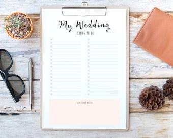 Wedding Planner PRINTABLE, Wedding Check List, Check List Printable, To Do List, Organiser, A4 Wedding Planner Insert, Letter Size Planner