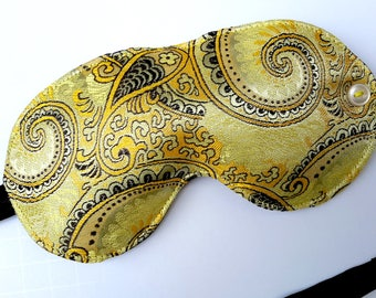 Gold Swirl Sleep Mask, sleep eye mask, sleeping mask, travel mask, travel accessory, spa mask, blindfold, adjustable strap, gold sleep mask