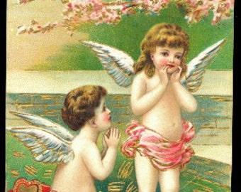 1914 Children Cherubs Valentines Day Postcard