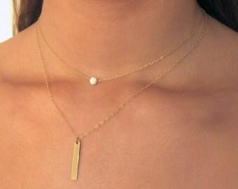 Gold Tiny White Opal Necklace , Gold Bar Necklace , Gold Filled Necklace ,  Delicate Layering Necklaces  , dainty necklace , necklace set